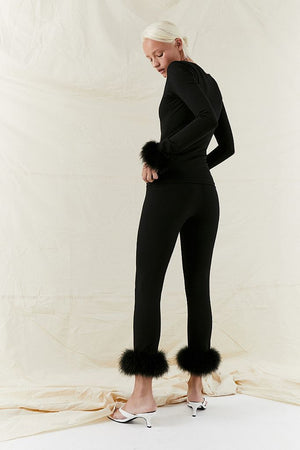 The Weekend Chic feather-trim woven pyjama set in Black