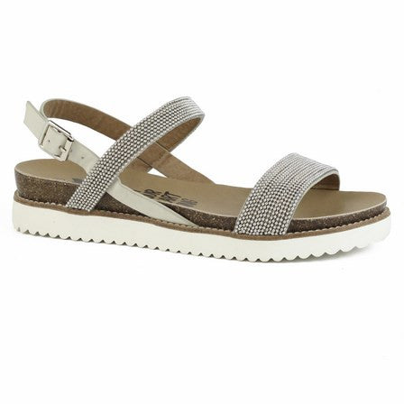 Silver/Off White studded sandals