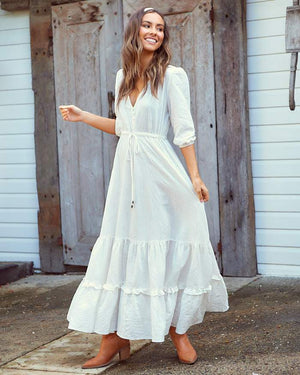Paola Maxi Dress in June White