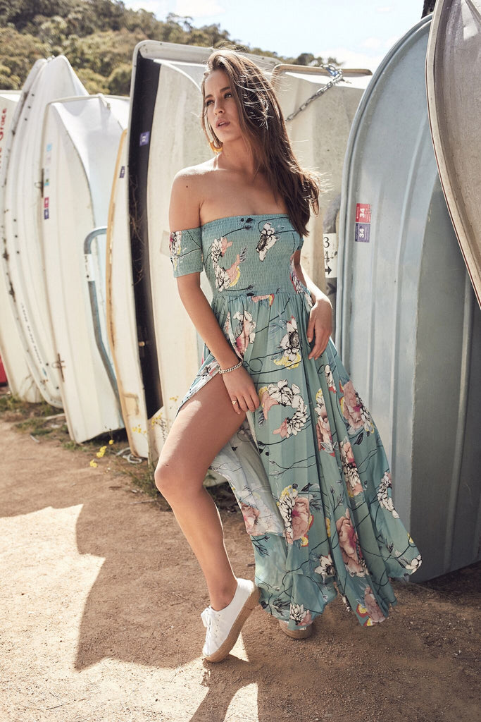 Maxi Dress Piper with side slit in Mint Print