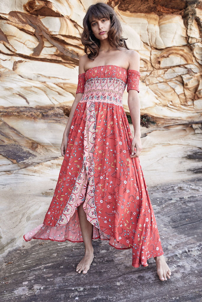 Maxi Dress Piper with side slit in Siesta Print