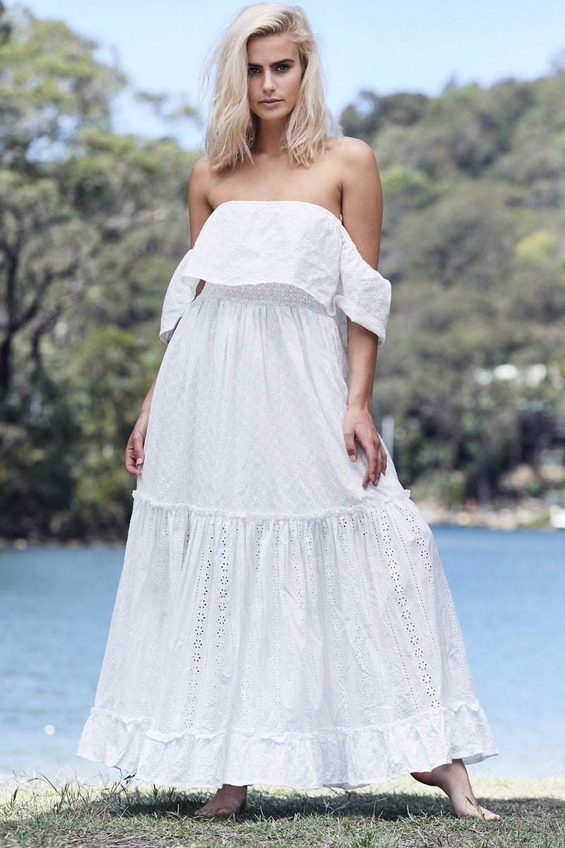 Jennifer White off Shoulder Maxi Dress in Broderie Anglais