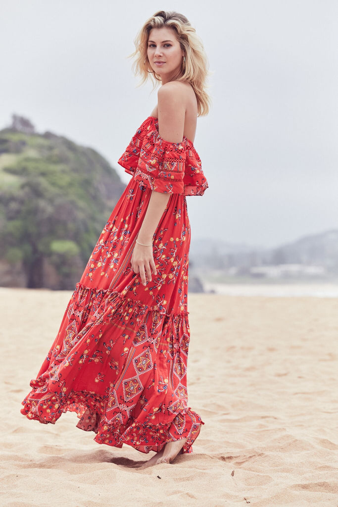 Karlie off Shoulder Maxi Dress in San Sebastian Print