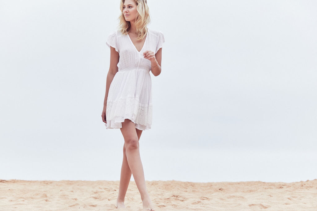 White Embroidered mini Dress Alysse