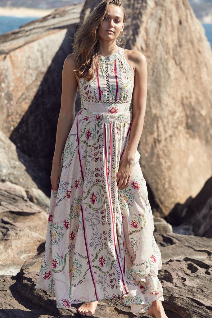 Halter Dress Endless Summer in Champagne Flowers Print