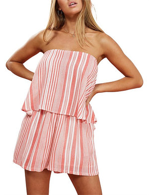 Minkpink Ocean side coral stripe playsuit