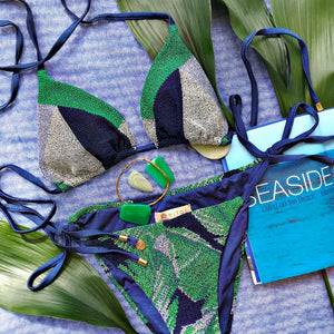 Triangle Cross Stitch Bikini Set - Trinity Blue