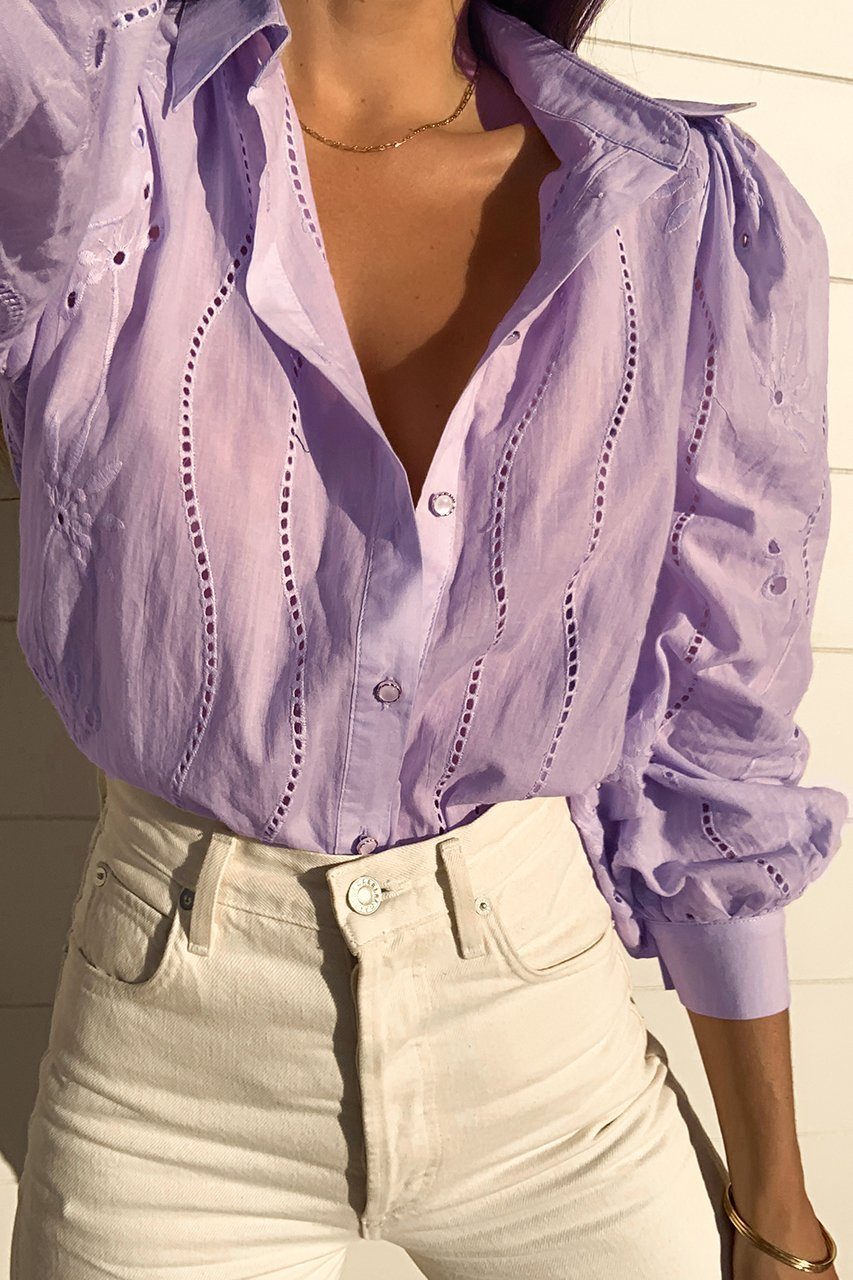 Embroidery Knowles Blouse in Lilac