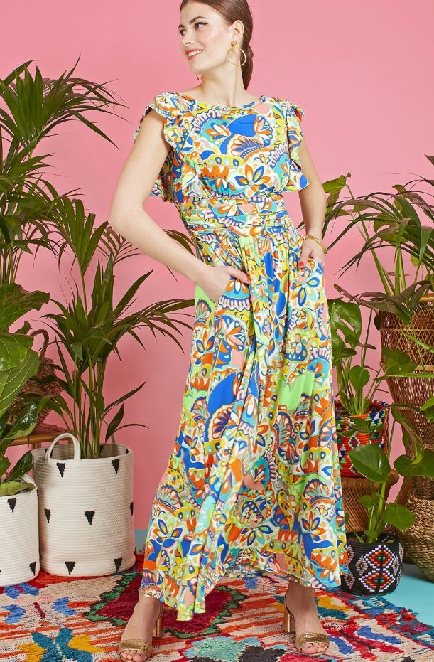 Rosie Maxi Dress in Iris green Print