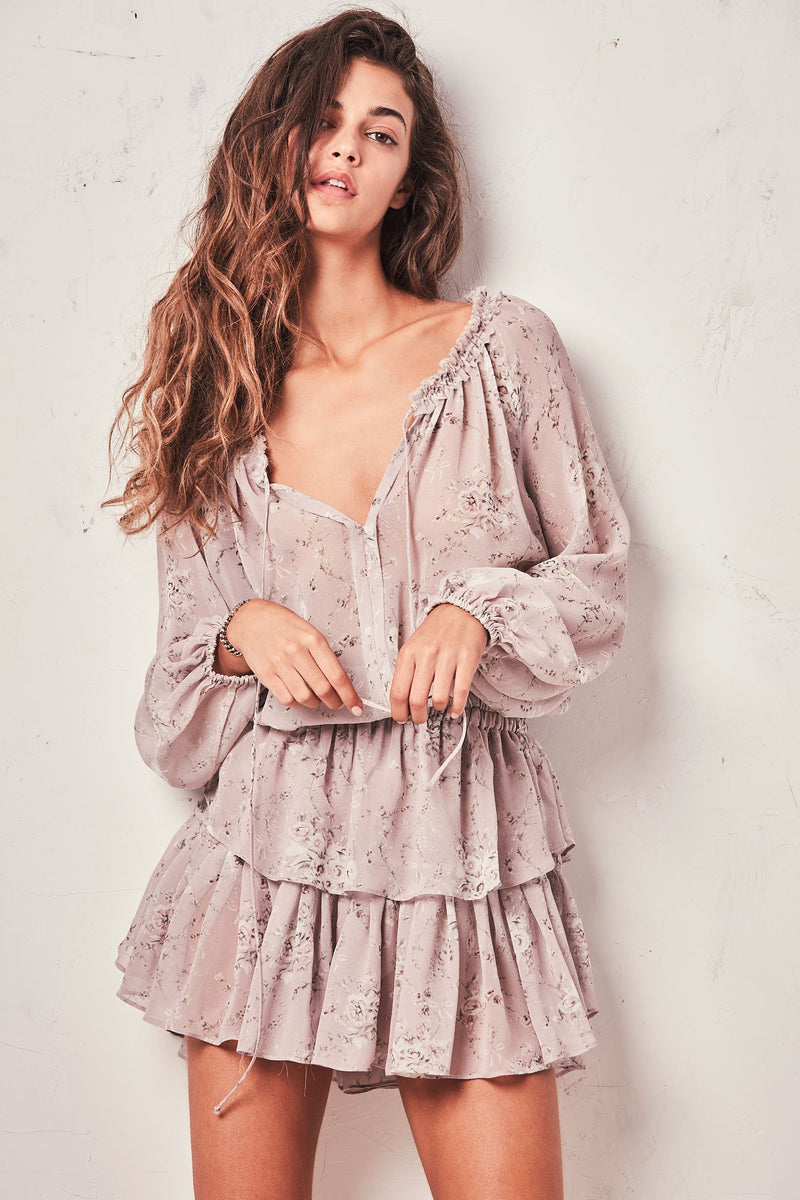 loveshackfancy Popover floral-print tiered ruffled silk mini dress