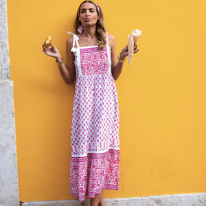 Elena Maxi Dress in Strawberry Fields