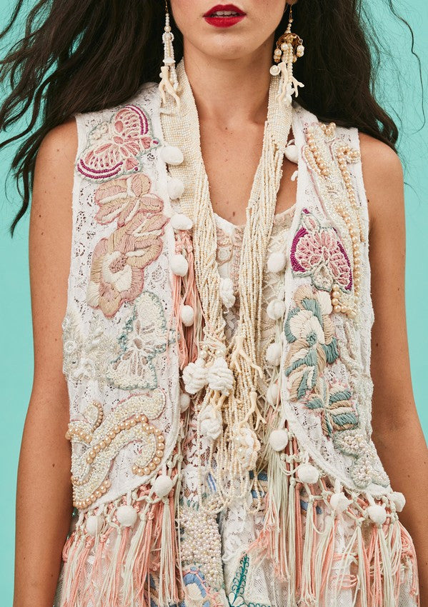 Statement Embellished Lace Vest
