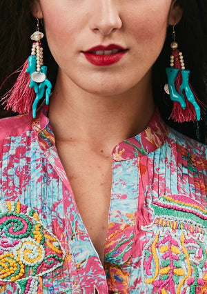 Sea shells and tassel earrings