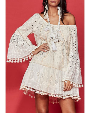 Cotton lace embroidery dress Olivia in Cream