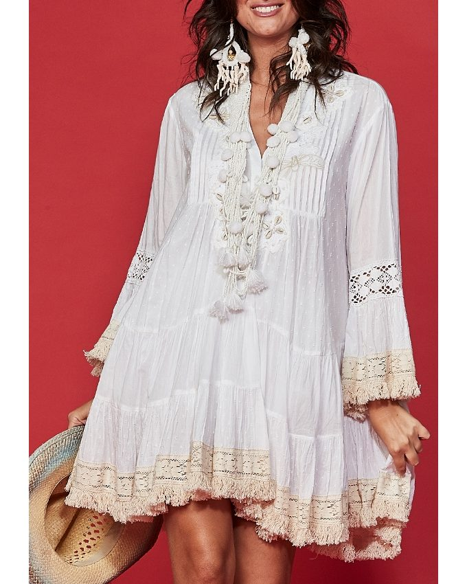 White cotton dress with Lace inserts Millie