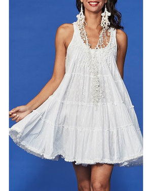 White skater embellished Mini Dress Liv