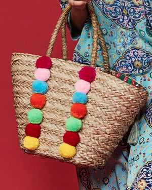 Antica Sartoria Pompom Straw bag
