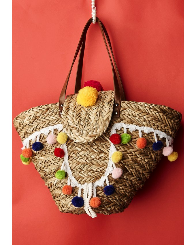 Antica Sartoria Pompom Straw bag with flap
