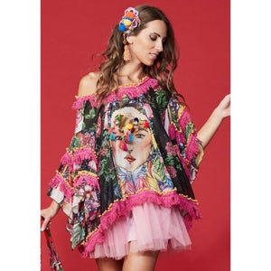 Frida Print Chifon Layered Top