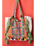 Large embroidery and tassel statement beach bag