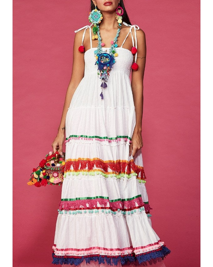 White Banndeau Maxi Dress Rony