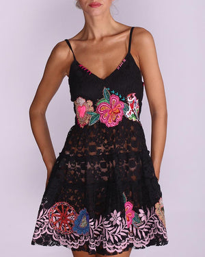 Black Lace long Top with bright embroidery