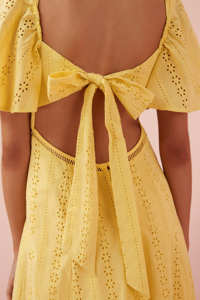 Sunday midi broiderie anglaise Dress in yellow