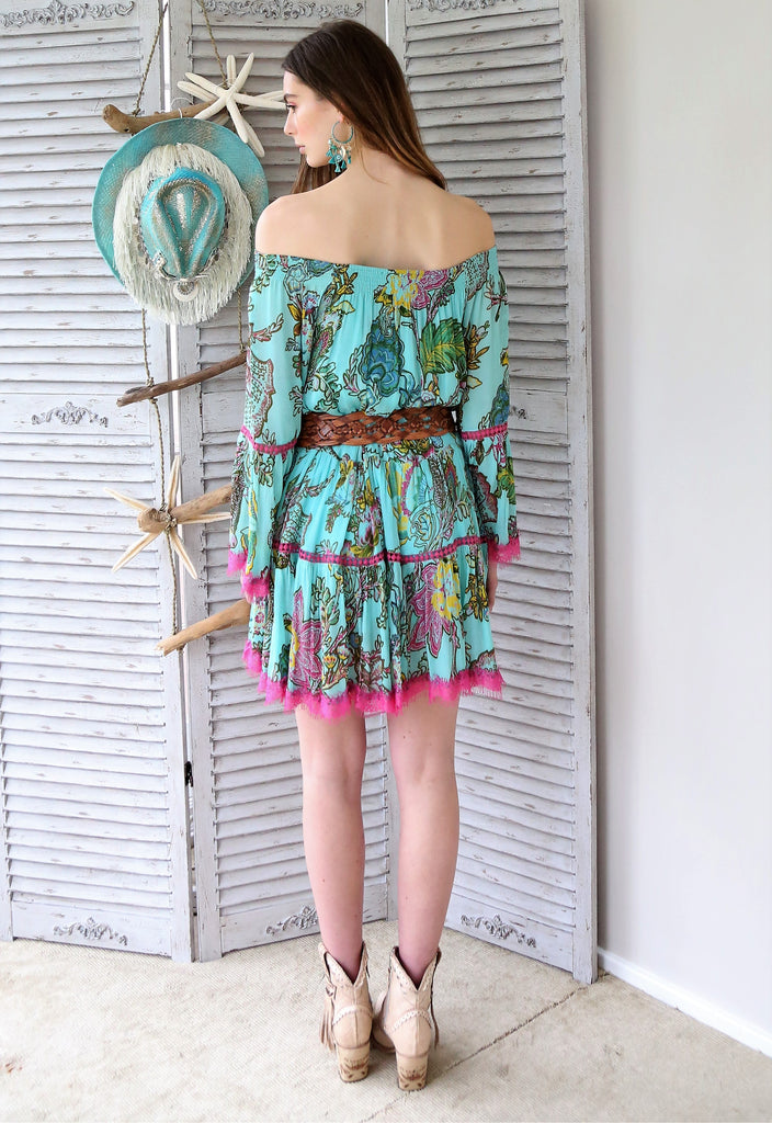 Miss June Boho Luxe Dress Essie in Turquoise print