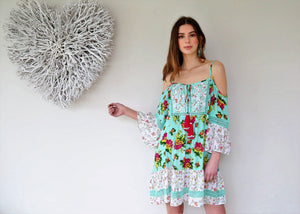 Miss June Mini Dress Tropical in Aqua Print