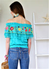 Turquoise flounce off Shoulder top Flora