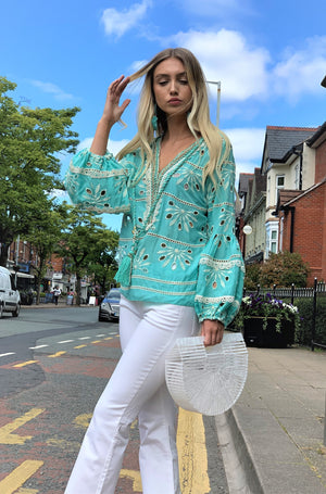 Embroidered  puff sleeve Top Pineapple in Aqua