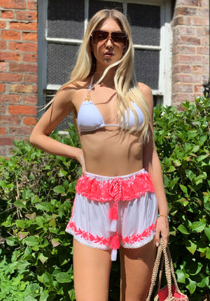 White Embellished Shorts Polly with  neon pink trim