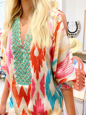 Silky Print Beaded Cold Shoulder Top Molly