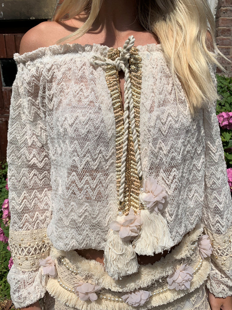 Cream Lace Top Rosa with gold embellishment