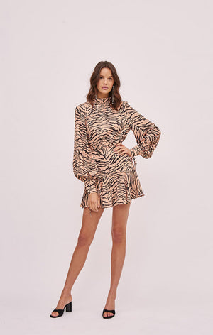 Romy mini dress IN TAN TIGER PRINT
