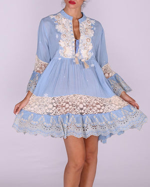 Light Blue EMBROIDERED Cotton-Chambray DRESS