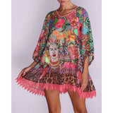 Oversized Frida embroidery dress with lace and chiffon fabric