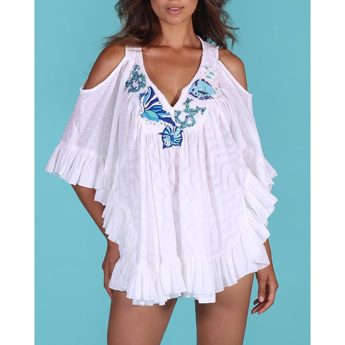 White Cold shoulder Poncho top Star