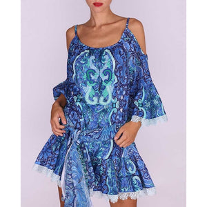 blue print Cold shoulder Printed  Midi Dress versus
