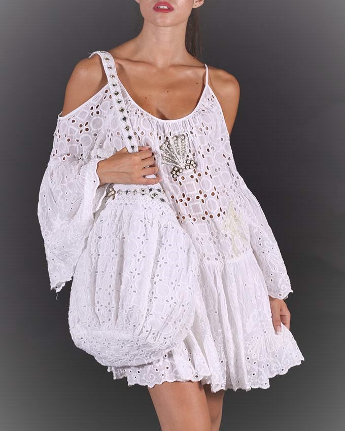 White Embroidery Cold Shoulder mini Beach Dress Shell