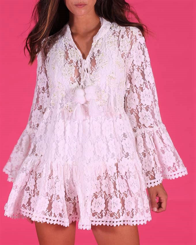 White Embellished Lace Dress St Tropez