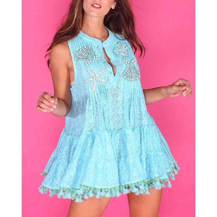 Turquoise Embellished Lace trimmed top Cecilia