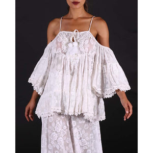 White Barbados Cold Shoulder Lace Top