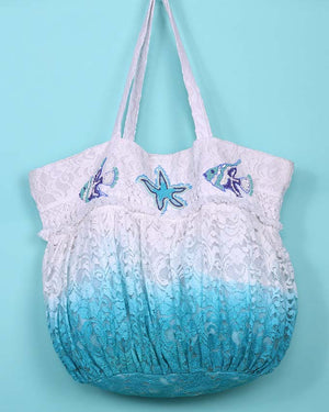 Large Ombre embroidery and beach bag shelly