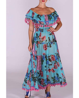 Sheer chifon Maxi off shoulder dress Florida
