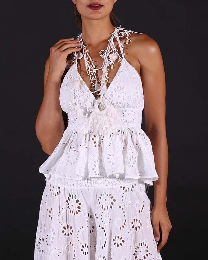 White Lace Top San Gallo
