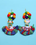 Beaded Tassel  and pompom Earrings DG