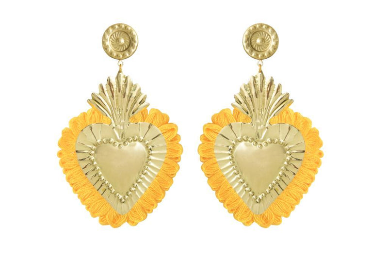 Gold Hearts Earrings with Yellow Fringe
