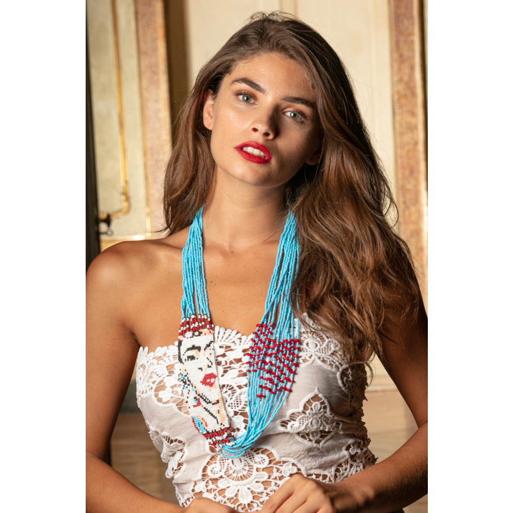 Frida Beaded Multi Layered Necklace in Turquoise