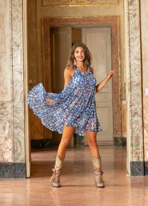 Antica Sartoria Retro Print chiffon Dress